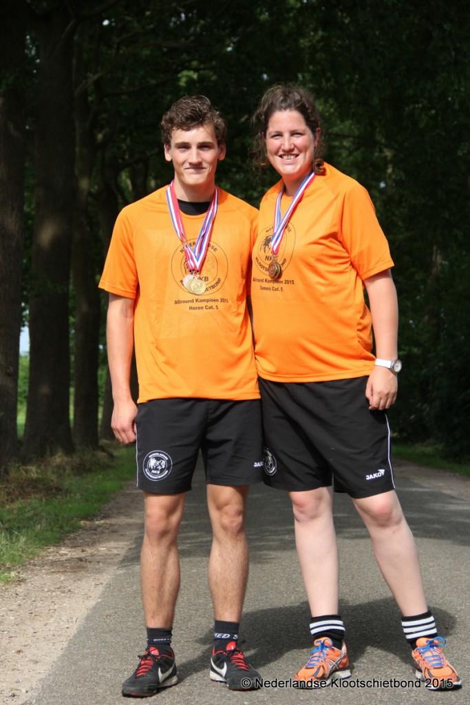 42-Allroundkampioenen Melle Analbers en Silke Tulk (categorie 5)
